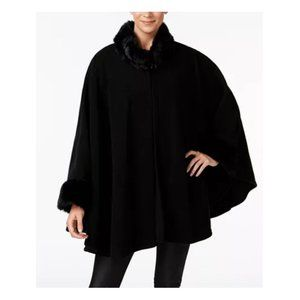 Cejon Faux Fur & Fleece Black Cape NWT